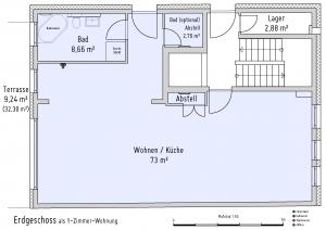 Plan Erdgeschoss als 1-Zimmer-Wohnung