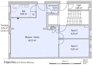 Plan Erdgeschoss als 3-Zimmer-Wohnung