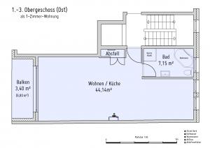 Plan Obergeschoss 1-3 (Ost) als 1-Zimmer-Wohnung