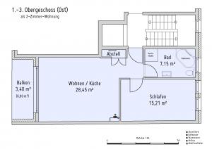 Plan Obergeschoss 1-3 (Ost) als 2-Zimmer-Wohnung