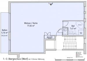 Plan 1. bis 3. Obergeschoss (West) als 1-Zimmer-Wohnung