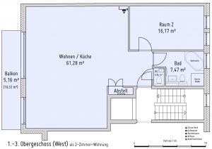 Plan 1. bis 3. Obergeschoss (West) als 2-Zimmer-Wohnung