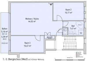 Plan 1. bis 3. Obergeschoss (West) als 3-Zimmer-Wohnung