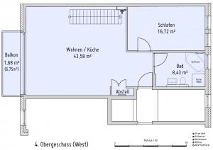 Plan Obergeschoss 4 West
