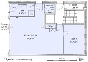 Plan Erdgeschoss als 2-Zimmer-Wohnung