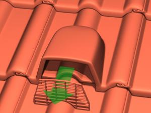 Bild Lüftungsdachziegel mit entferntem Gitter als Durchgang für Fledermäuse